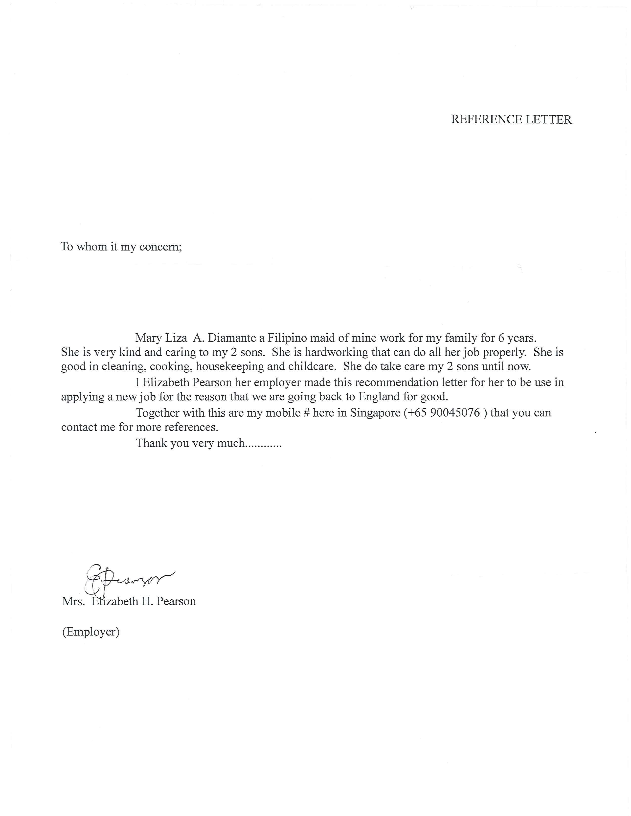 sample employment reference letter template .