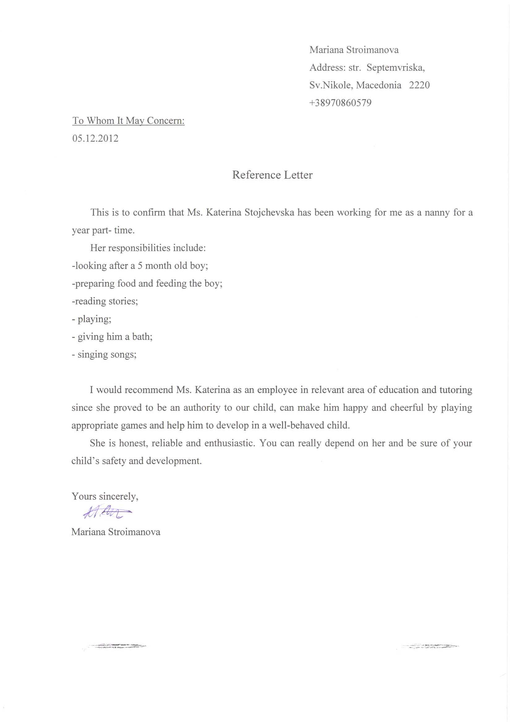 caregiver reference letter from employer