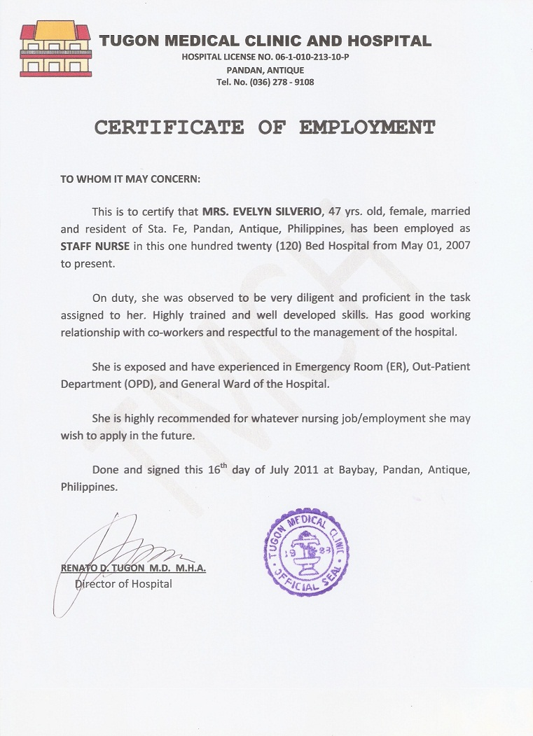 Sample Of Certificate Of Employment Letter Images