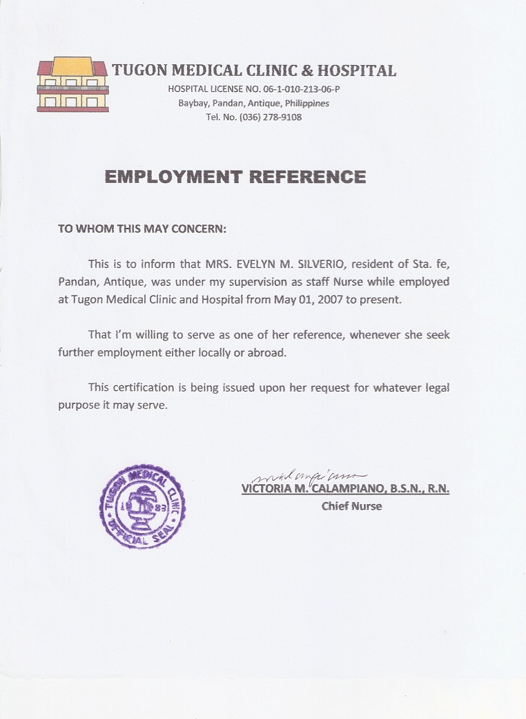 6 Tugon Med Clinic Amp Hospital Certificate Of Employment