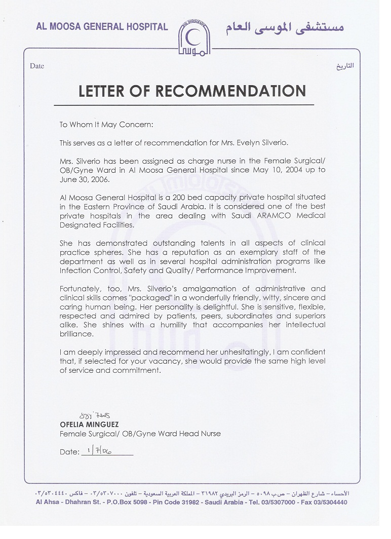 Doc12751650 Reference Letter for Staff Recommendation Letter – Nursing Recommendation Letter