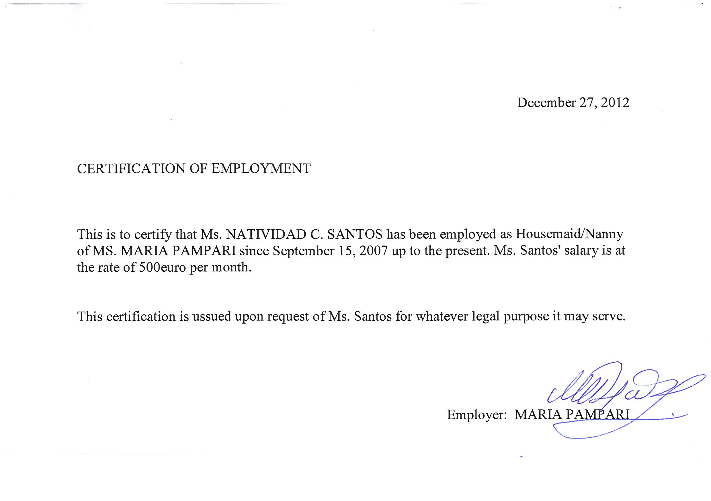 Sle of certification of employment 28 images salary certificate sle employment certification letter for 28 images yadclub Images