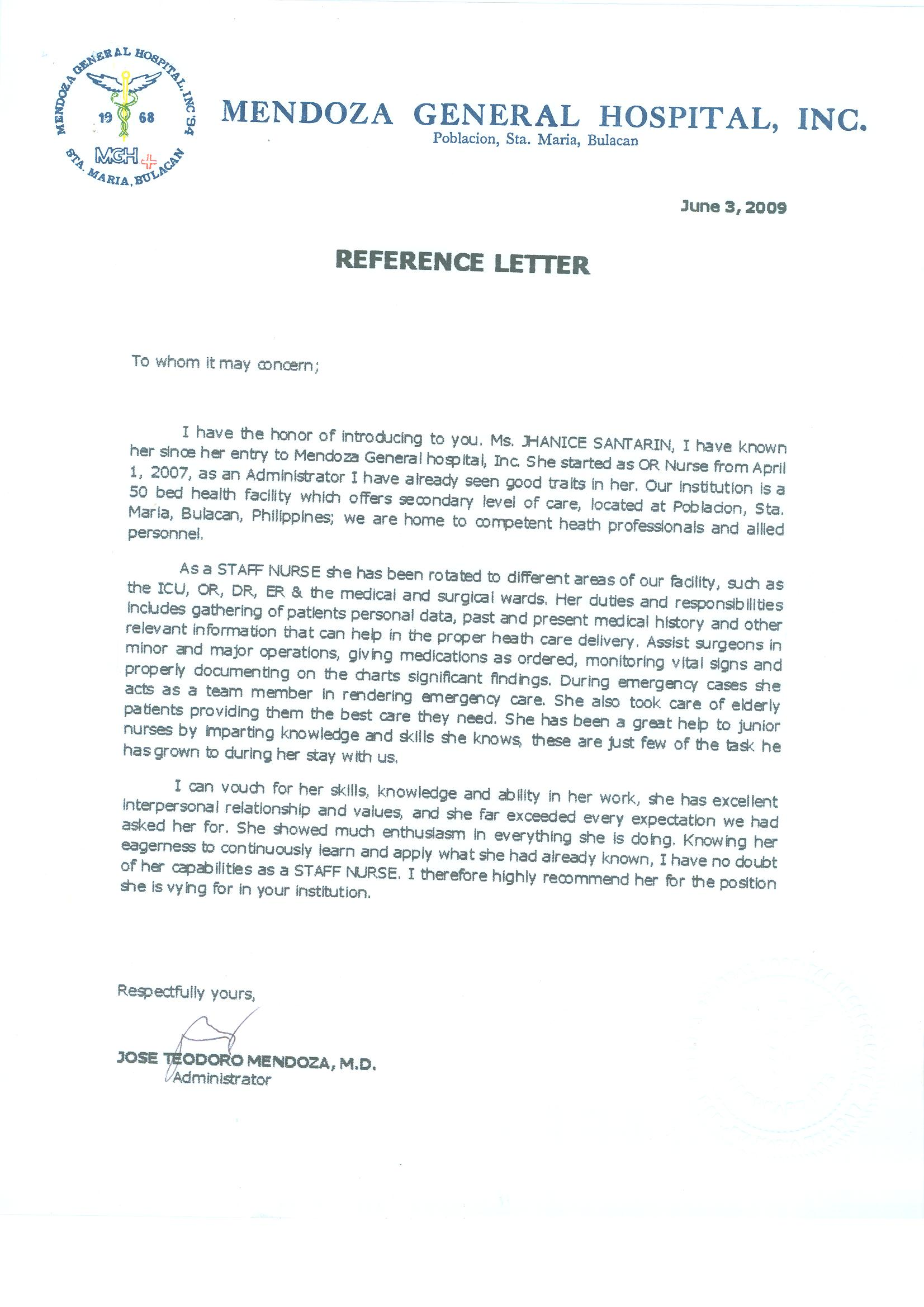 Nurse Reference Letter Sample Nurse Reference Letter  Documents