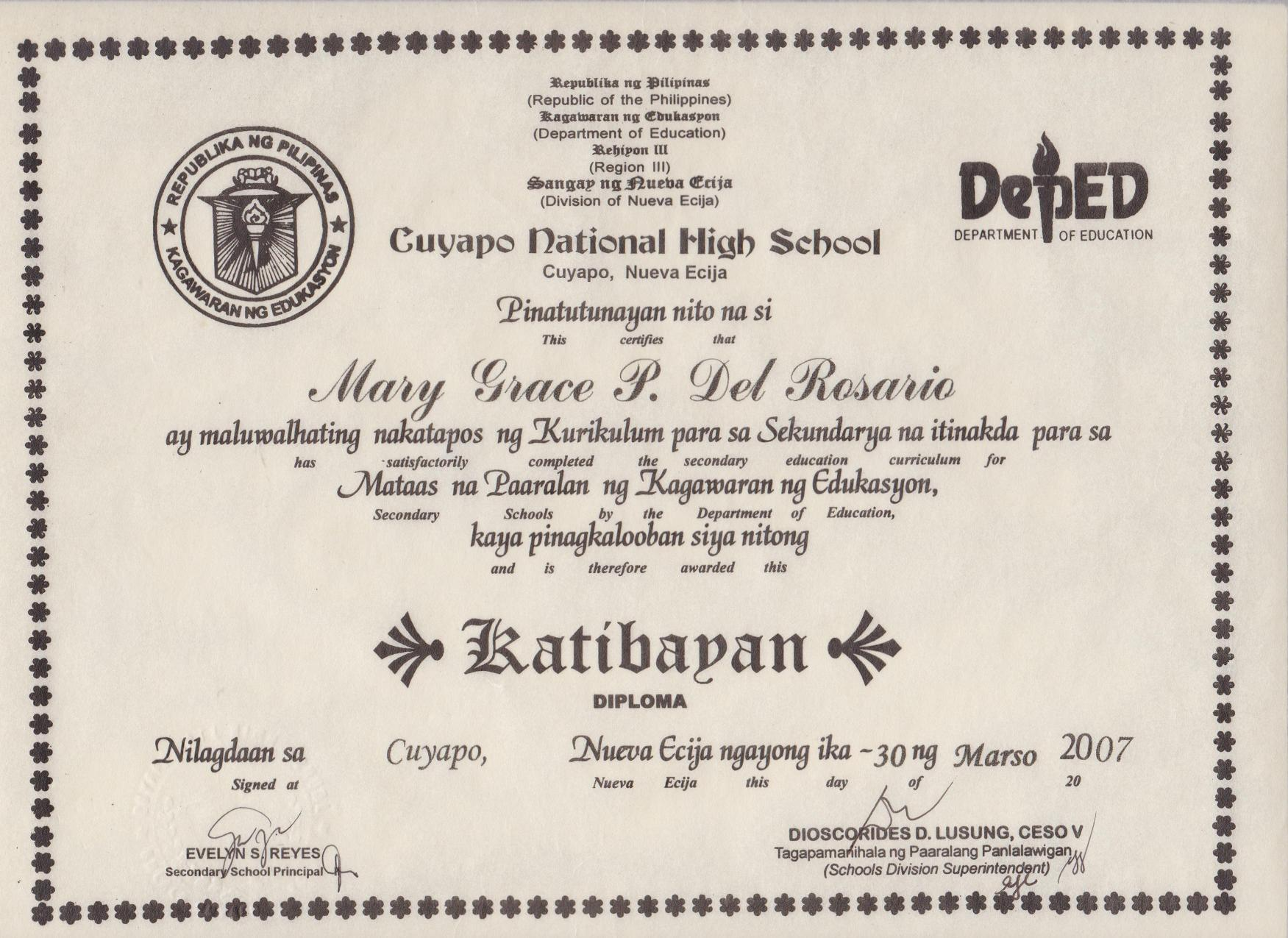 Tagalog High School Diploma Www Imgkid Com The Image